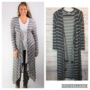 Gray Striped Open Cardigan duster Long Sweater